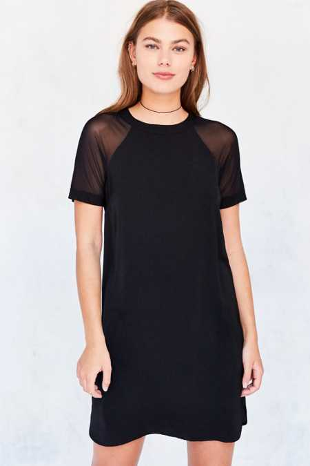 Silence + Noise Mesh Baseball Sleeve T-Shirt Dress
