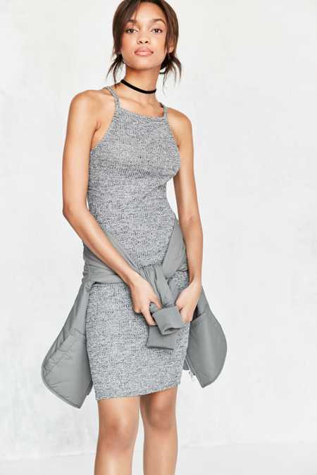 Silence + Noise Cozy Rib Square-Neck Bodycon Midi Dress
