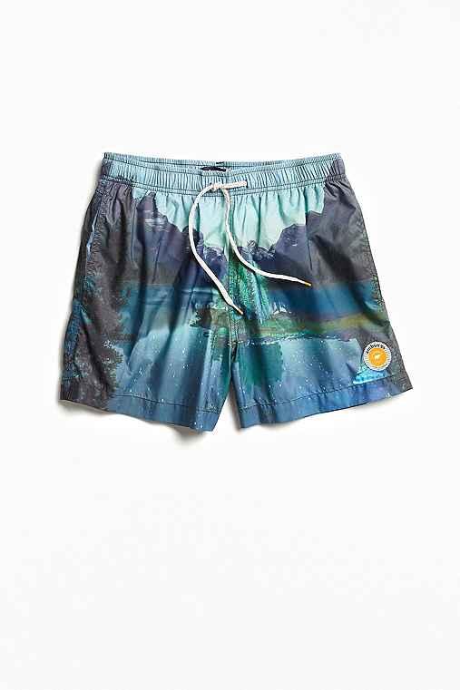 ambsn X Chris Burkard Alberta Packable Swim Trunk,BLUE,XL