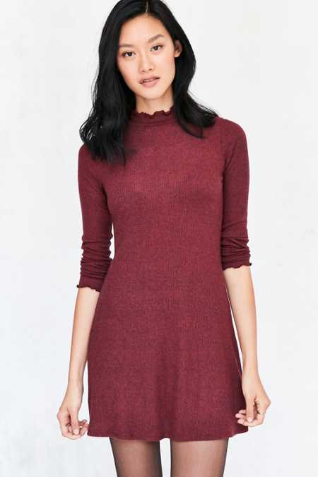 Kimchi Blue Lettuce-Edge Mock-Neck Mini Dress