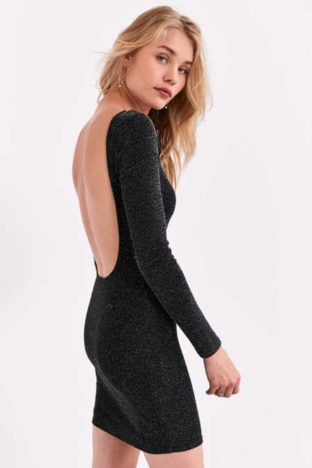 Silence + Noise Shimmer Long-Sleeve Bodycon Dress