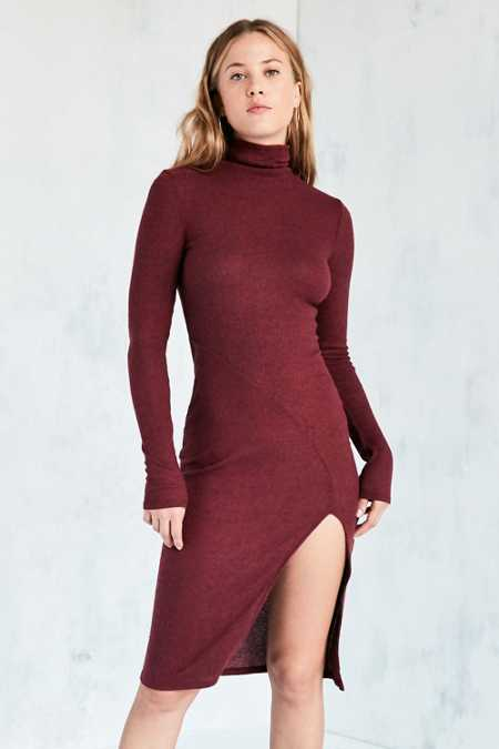 Silence + Noise Cozy Mock Neck Midi Dress