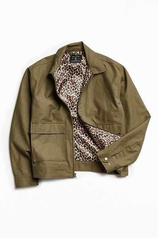 UO Leopard Lined Gas Jacket,OLIVE,M