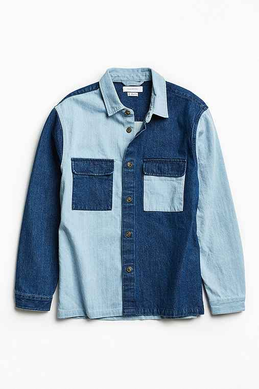 UO Heavyweight Colorblocked Denim Button-Down Shirt,INDIGO,L