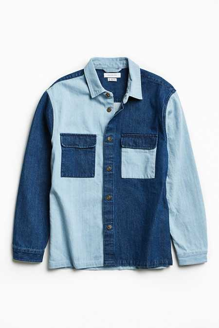 UO Heavyweight Colorblocked Denim Button-Down Shirt