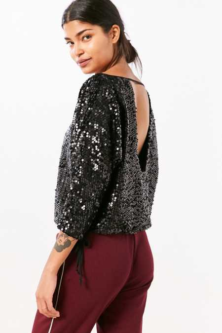 Silence + Noise Donna Sequin Boat-Neck Top