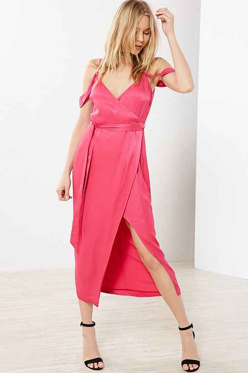 Bardot Leah Satin Off-The-Shoulder Maxi Wrap Dress,PINK,XS