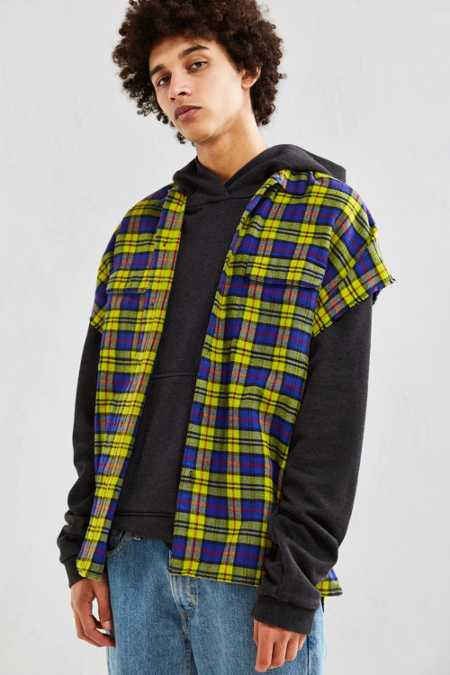 UO Peacock Plaid Cap Sleeve Button-Down Shirt