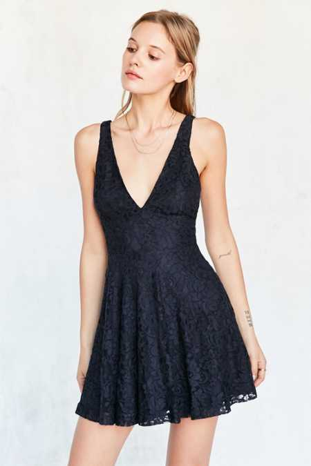 Kimchi Blue Plunging Lace Fit + Flare Mini Dress