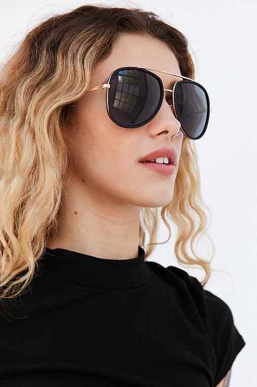 Quay Needing Fame Aviator Sunglasses,BLACK,ONE SIZE