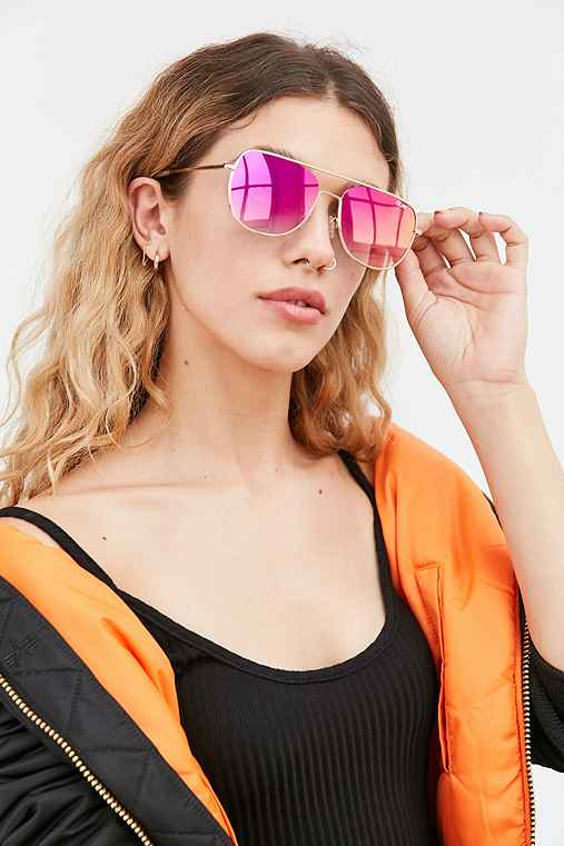 Quay Running Riot Square Aviator Sunglasses,GOLD,ONE SIZE