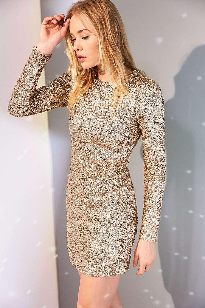 long sleeved sequin mini dress - Dress Yp