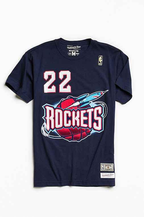 Mitchell & Ness Houston Rockets Clyde Drexler Tee,NAVY,L
