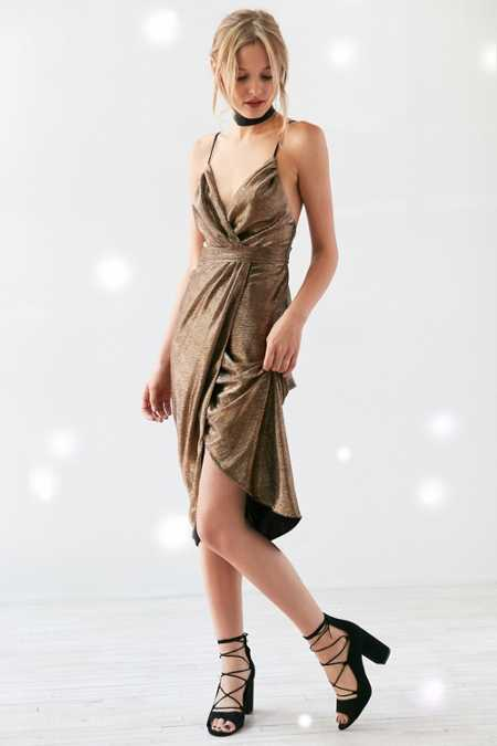 Ecote Solid Gold Metallic Tulle Midi Dress