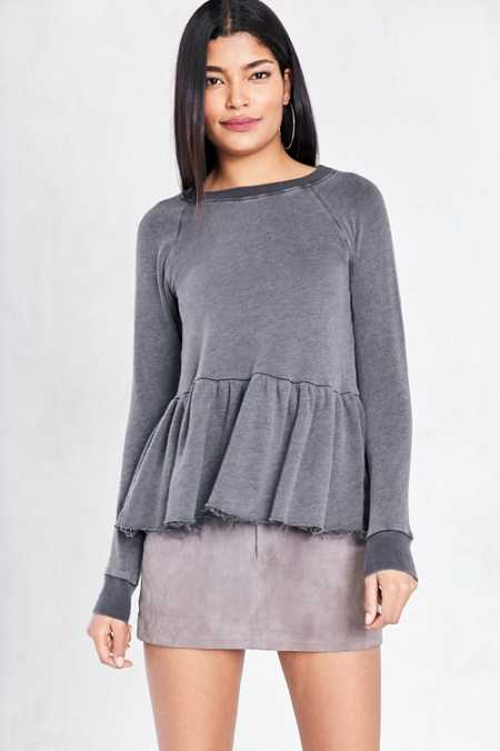 Truly Madly Deeply Clean Sweep Long-Sleeve Peplum Tee