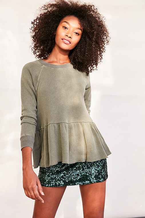 Truly Madly Deeply Clean Sweep Long-Sleeve Peplum Tee,GREEN,S
