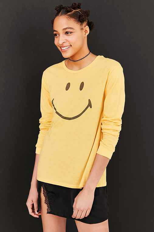 Smiley Face Long-Sleeve Tee,YELLOW,M