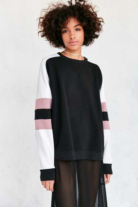 BDG Home Run Colorblock Stripe Pullover Sweatshirt