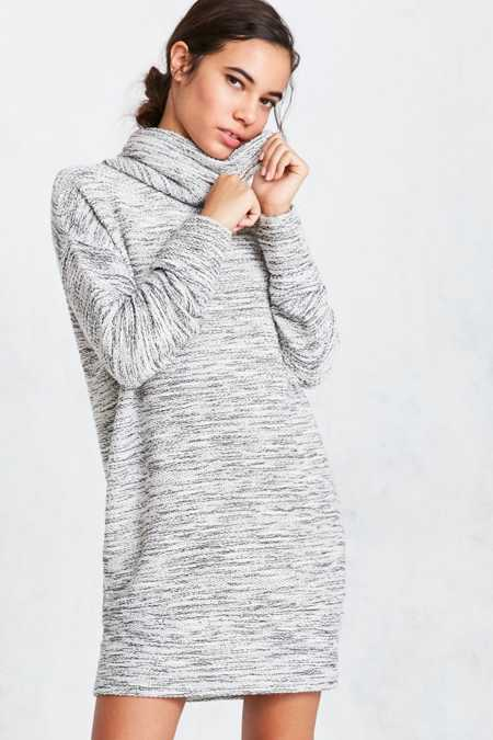 Silence + Noise Malachi Shimmer Cowl-Neck Sweater Dress