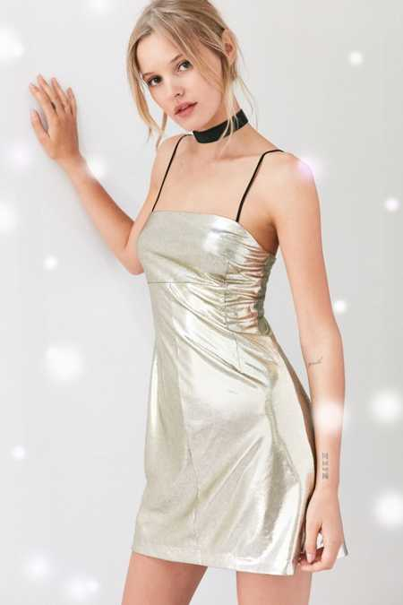 Silence + Noise Drita Metallic Mini Slip Dress