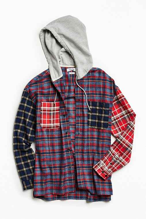 UO Hooded Patchwork Flannel Button-Down Shirt,ASSORTED,XL