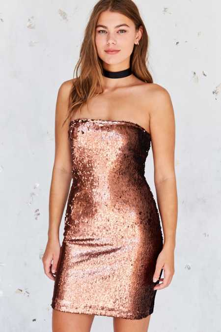 Motel Runaways Sequin Strapless Mini Dress