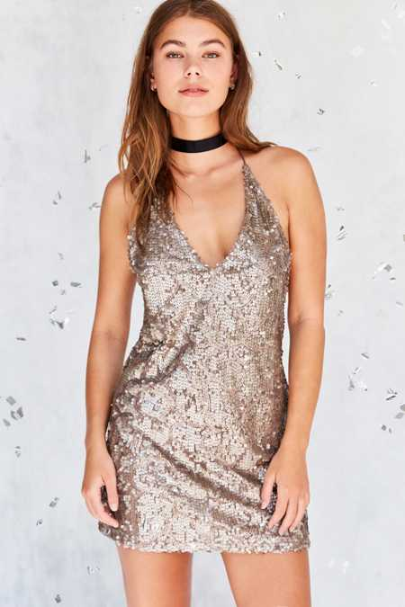 Motel Purpura Sequin Mini Slip Dress