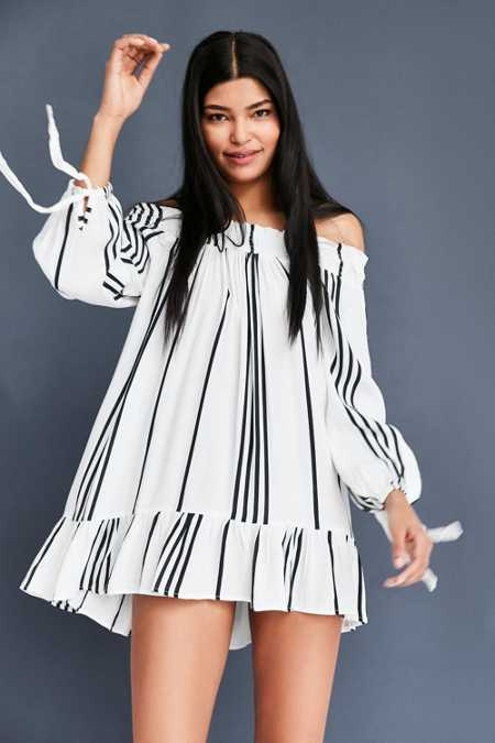 Faithfull The Brand Striped Off-The-Shoulder Mini Dress