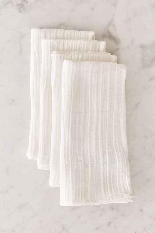 Crinkle Gauze Napkin Set,WHITE,ONE SIZE