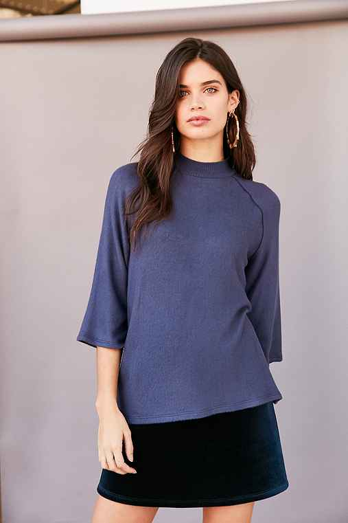 Project Social T In The Clouds Cozy Mock-Neck Top,NAVY,XS