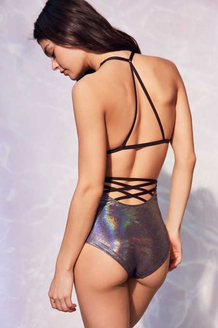 Out From Under Foil Strappy Back High-Waisted Bikini Bottom