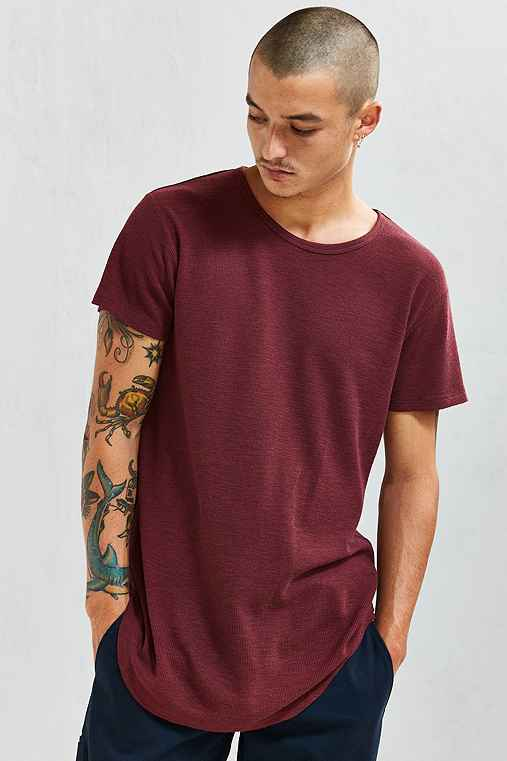 Feathers French Rib Long Loose Scoopneck Tee,MAROON,S