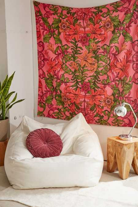Mirrored Tropics Floral Tapestry
