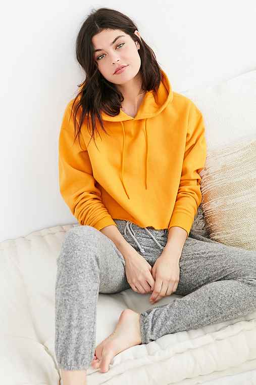 Out From Under Cropped Hoodie Sweatshirt,ORANGE,M