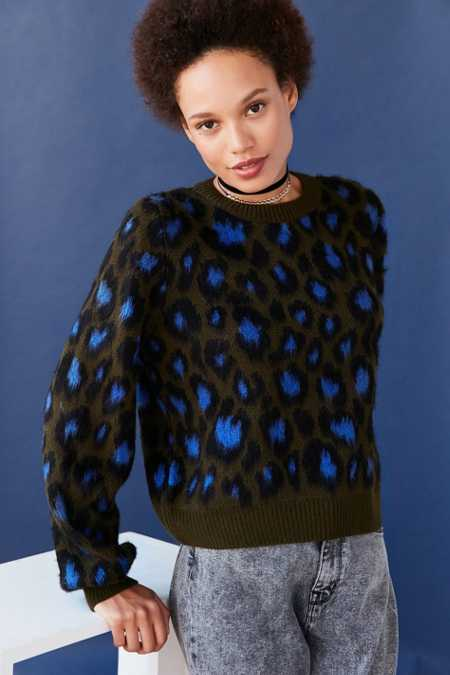 Ecote Brushed Leopard Crew-Neck Sweater