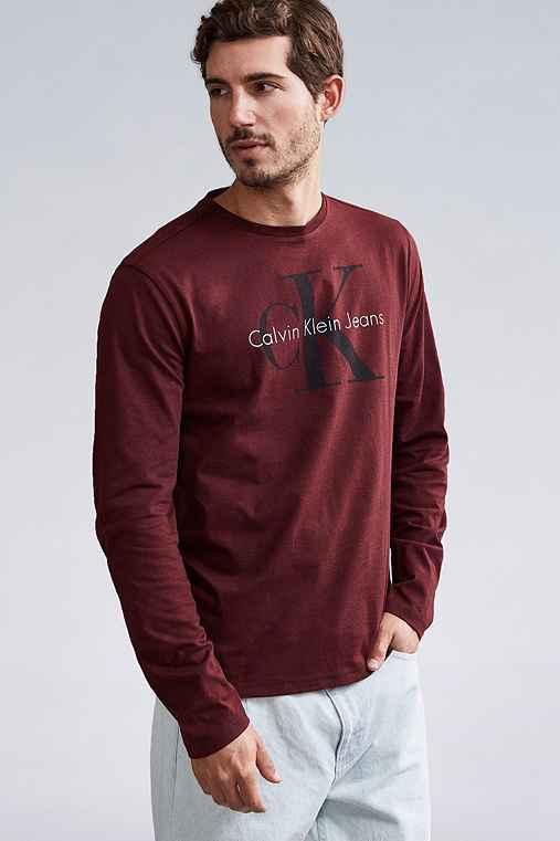 Calvin Klein Reissue Logo Long Sleeve Tee,MAROON,S