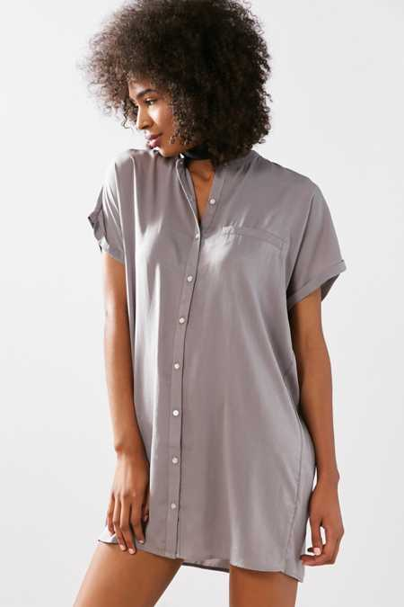 Silence + Noise Satin Mini Shirt Dress
