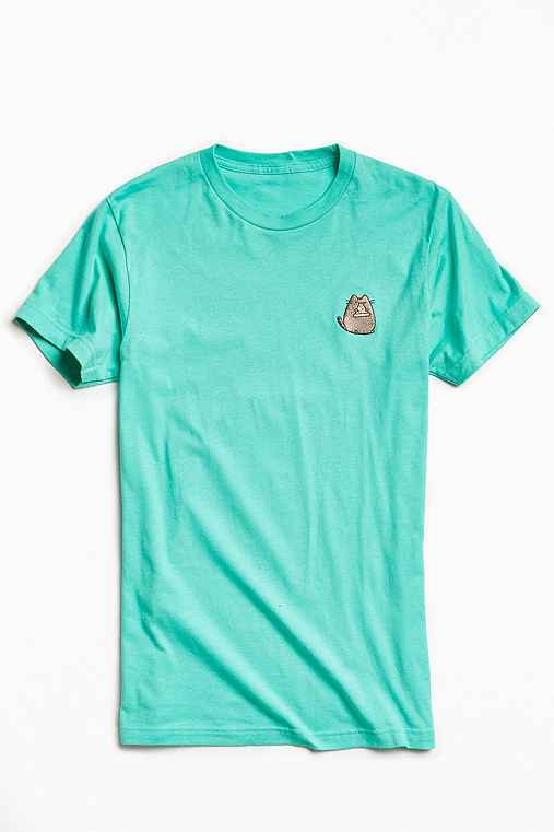 Embroidered pusheen the cat tee urban outfitters for Lucky cat shirt urban outfitters