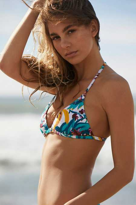 Out From Under Printed Triangle Racerback Bikini Top