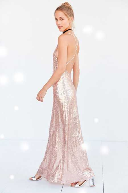 Glamorous Sequin Backless Maxi Slip Dress