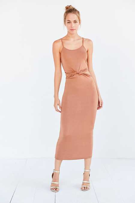 Glamorous Shimmer Knit Knotted Cutout Midi Slip Dress