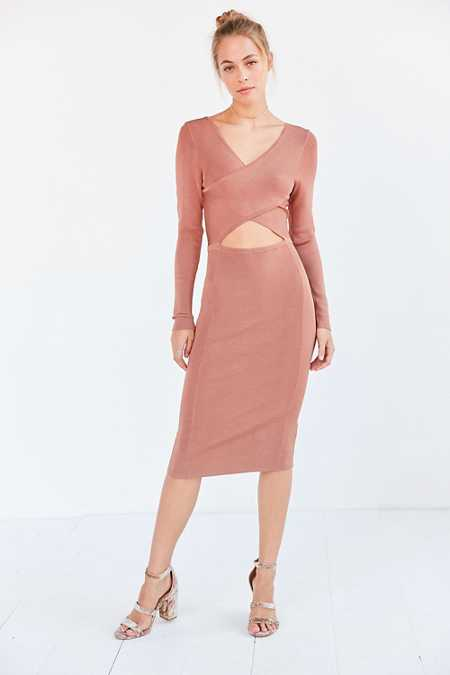 Glamorous Shimmer Knit Criss-Cross Cutout Midi Dress