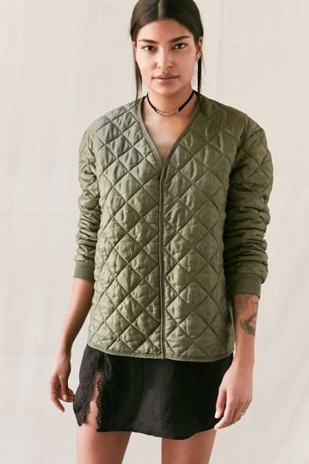 Vintage Quilted Military Pullover Jacket