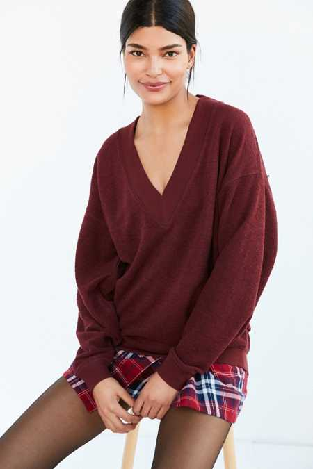 BDG Lisbeth Terry V-Neck Pullover Sweatshirt