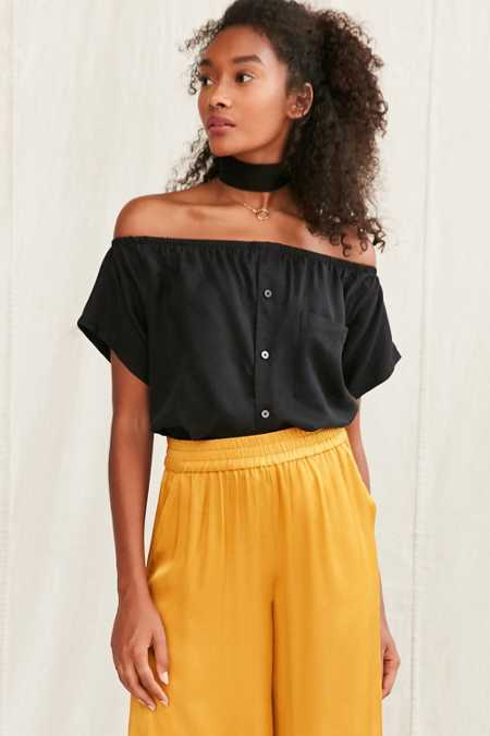 Urban Renewal Remade Off-The-Shoulder Silky Shirt