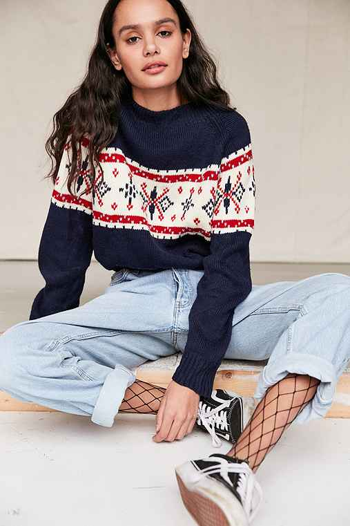 Urban Renewal Remade Cropped Fair Isle Sweater,NAVY,S/M