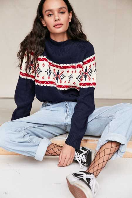 Urban Renewal Remade Cropped Fair Isle Sweater