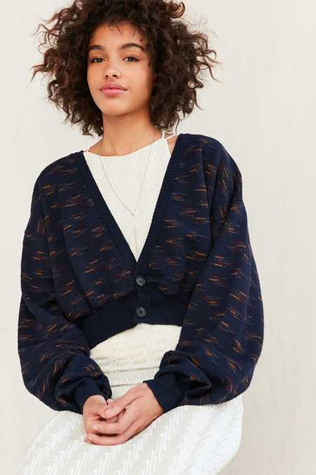 Urban Renewal Remade Cropped Vintage Patterned Cardigan
