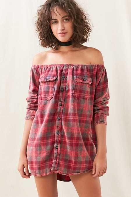 Urban Renewal Remade Off-The-Shoulder Long-Sleeved Flannel Shirt Dress