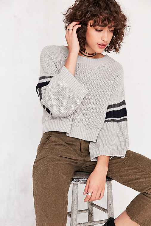 BDG Rugby Stripe Crop Pullover Sweater,GREY,XS